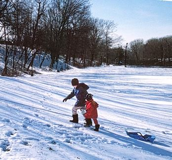 Kids at Sledding Hill